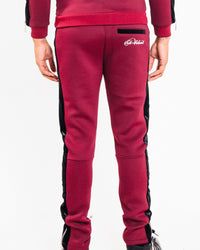 Burgundy & Black Velour Panel Full Tracksuit