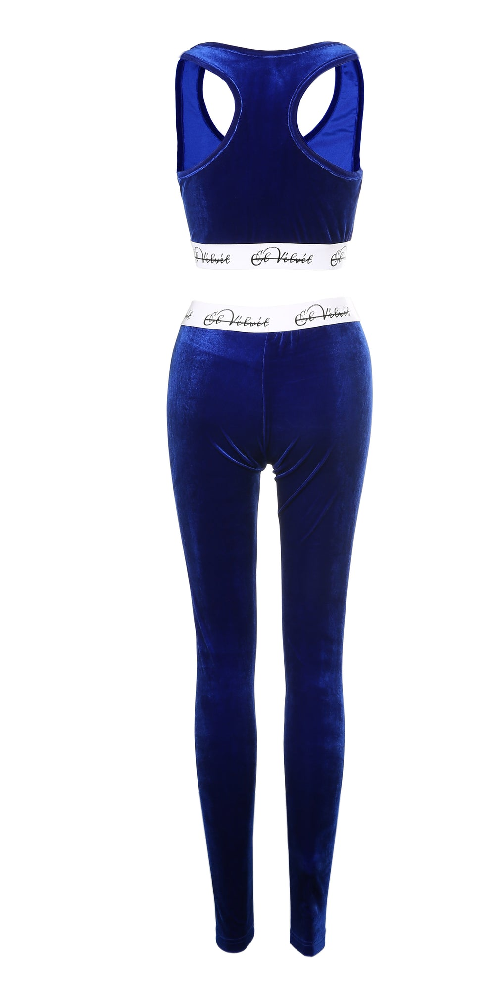 Royal Blue Velvet Taped Bralet & Pants/ Leggings Full Set