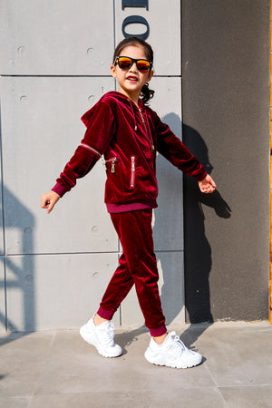 Kids Burgundy Vélvét Full Tracksuit-Boys & Girls