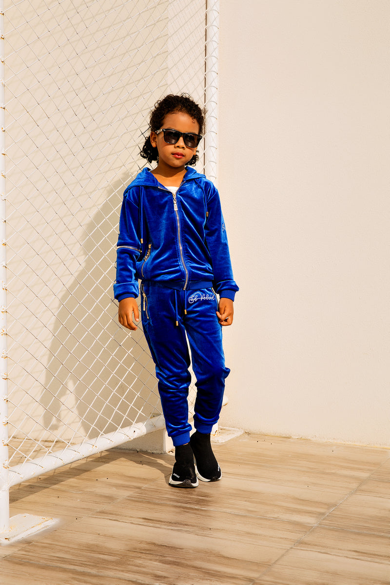 Kids Royal Blue Vélvét Full Tracksuit-Boys & Girls