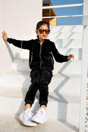 Kids Black Vélvét Full Tracksuit-Boys & Girls