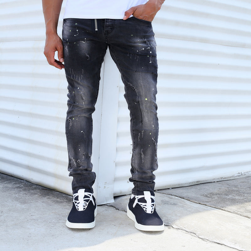 Side Zipper Splish Splash Jeans