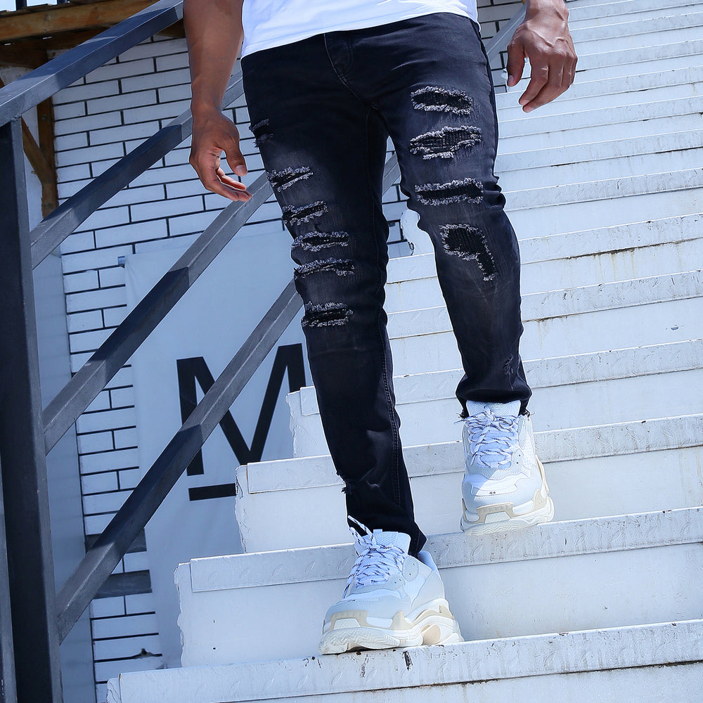 Dark Chromo Patch Jeans
