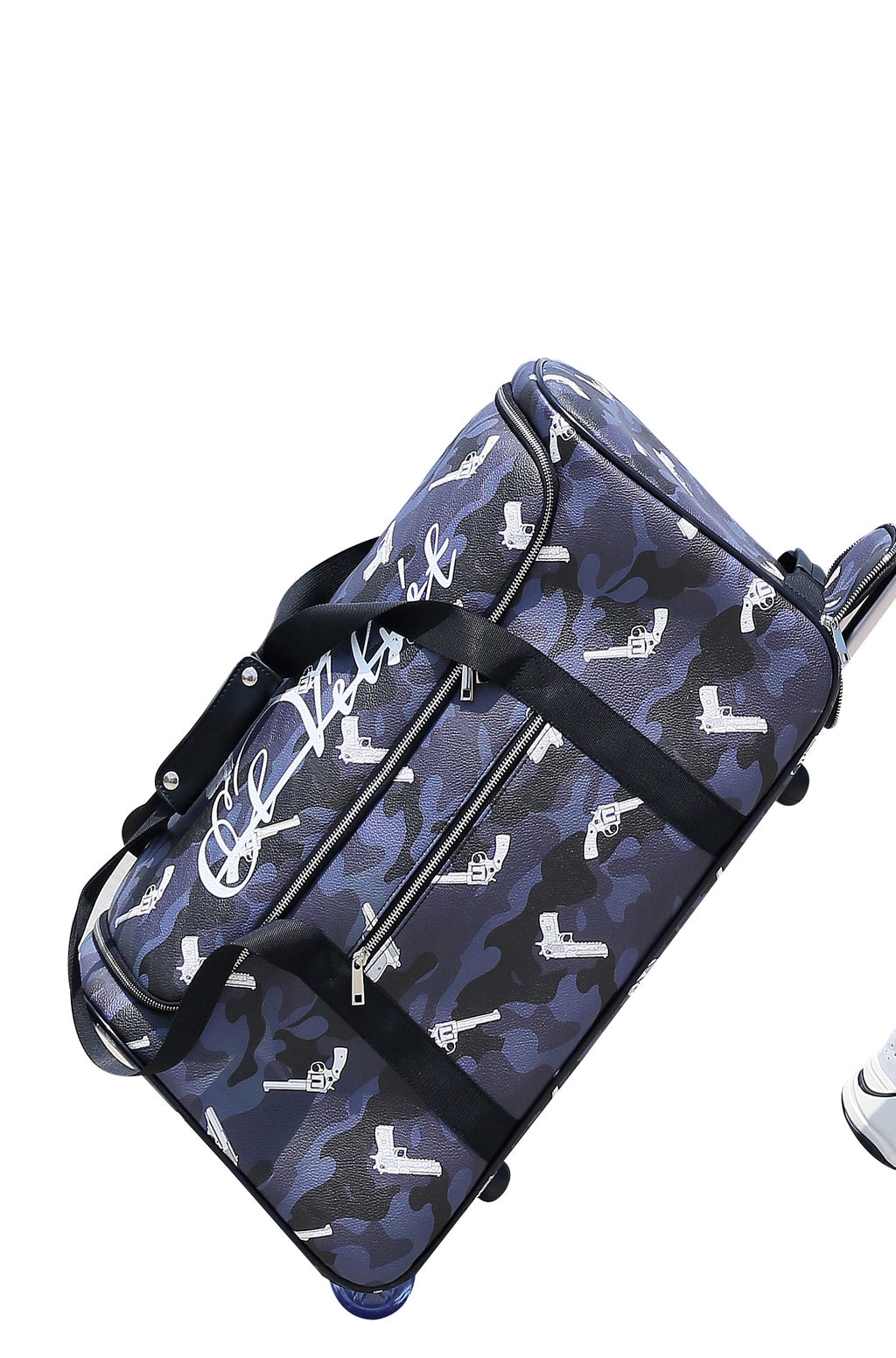 Black Strapped Camo Duffle Travel