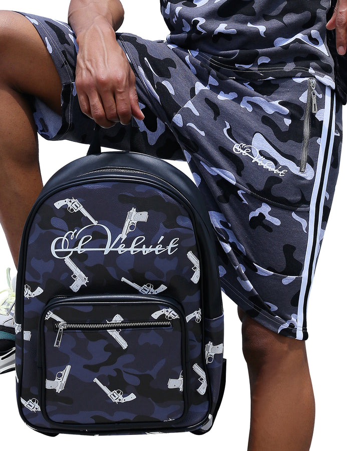 Blxck Strapped Camo Bagpack