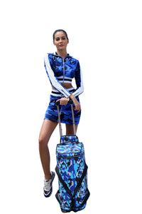 Blue Strapped Camo Duffle Travel