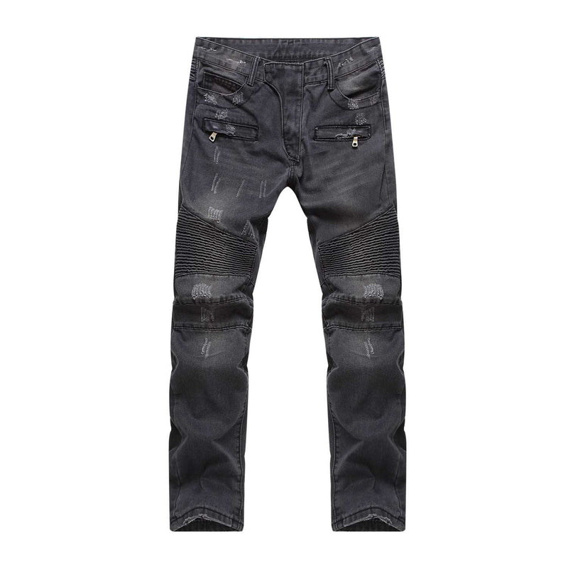 Washed Black Biker Jeans