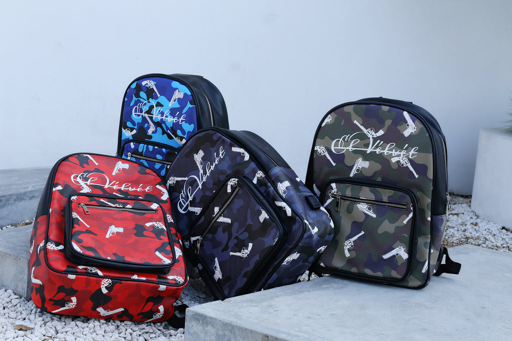 Blue Strapped Camo Bagpack