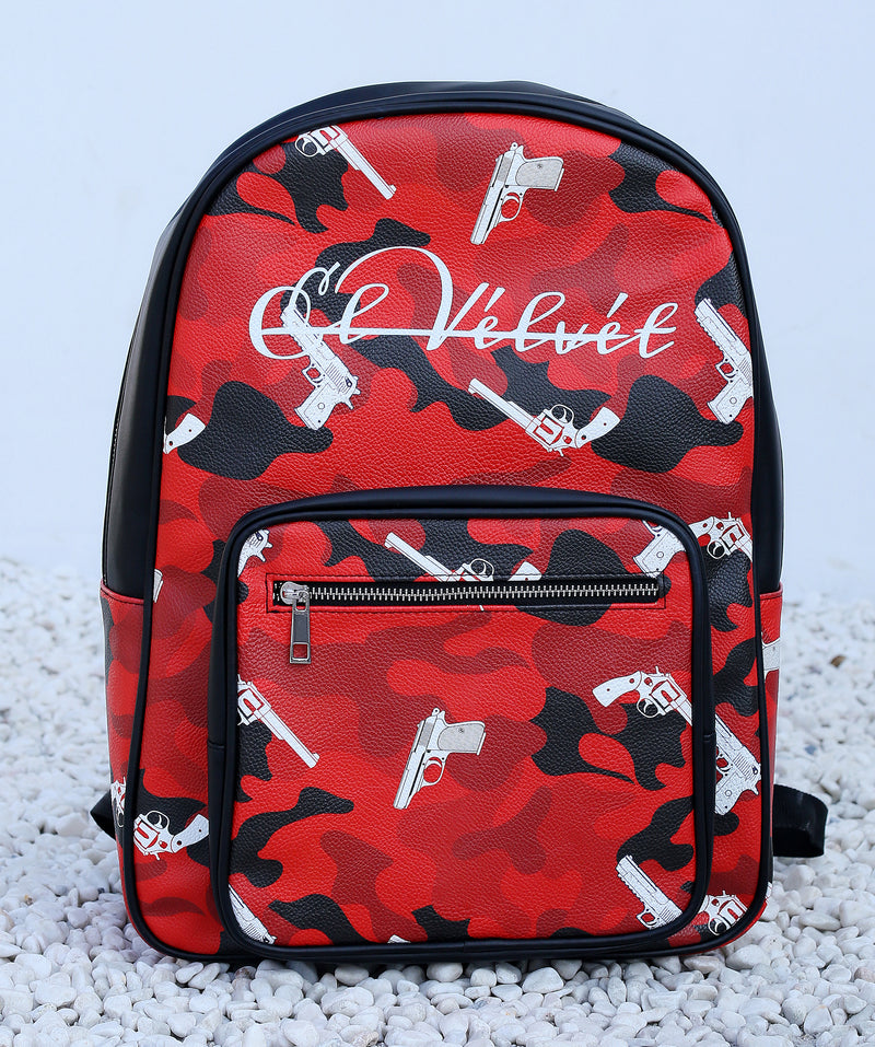 Red Strapped Camo Bagpack