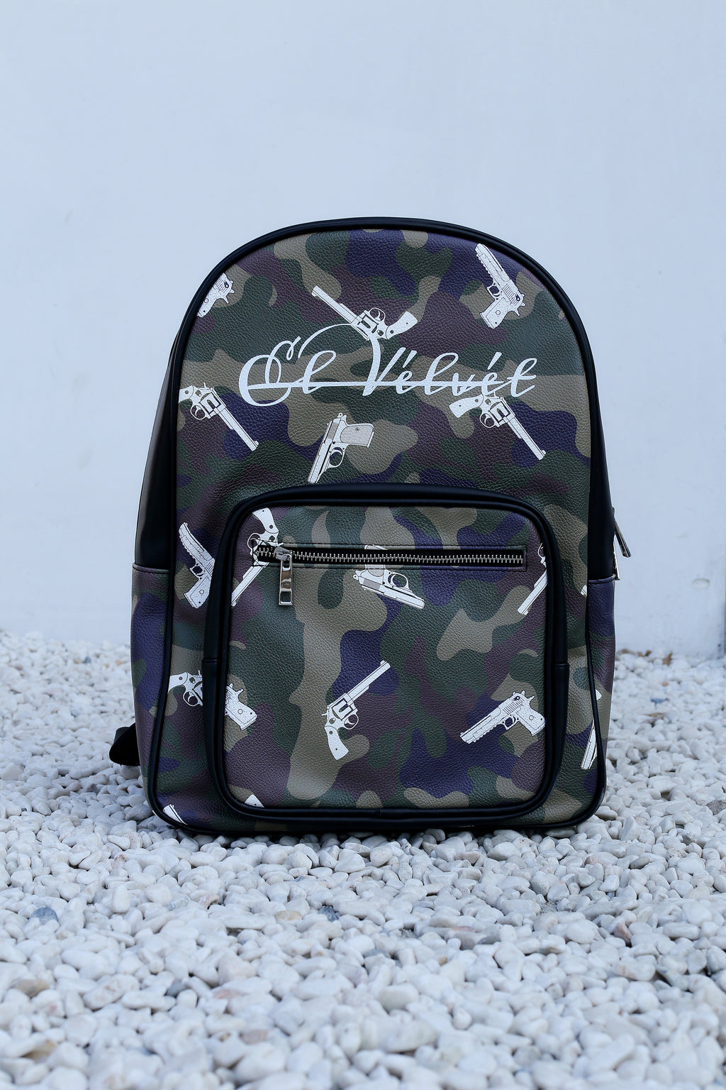 Army Green Strapped Camo Bagpack