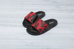 Red & Black Camo Slides - Men & Women