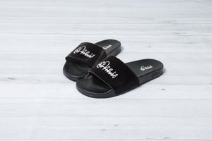 Black Velvet Slides - Men & Women