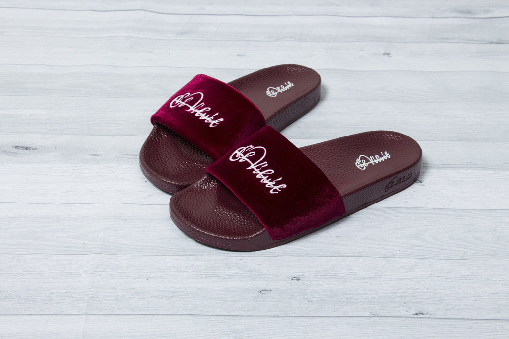 Burgundy Velvet Slides- Men & Women