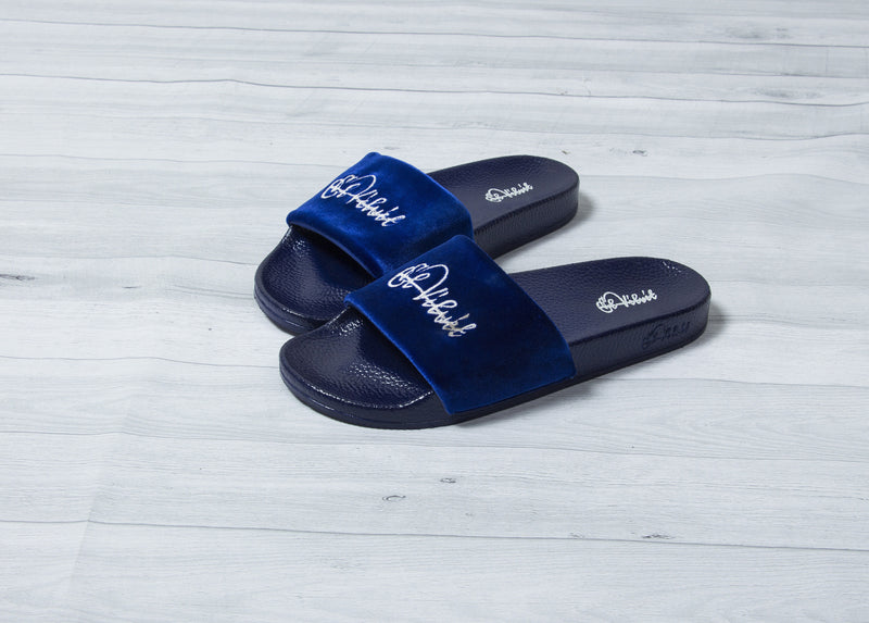 Royal Blue Velvet Slides - Men & Women