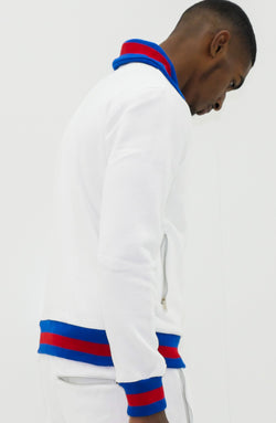 Collar'd White D-lux Sweat Top