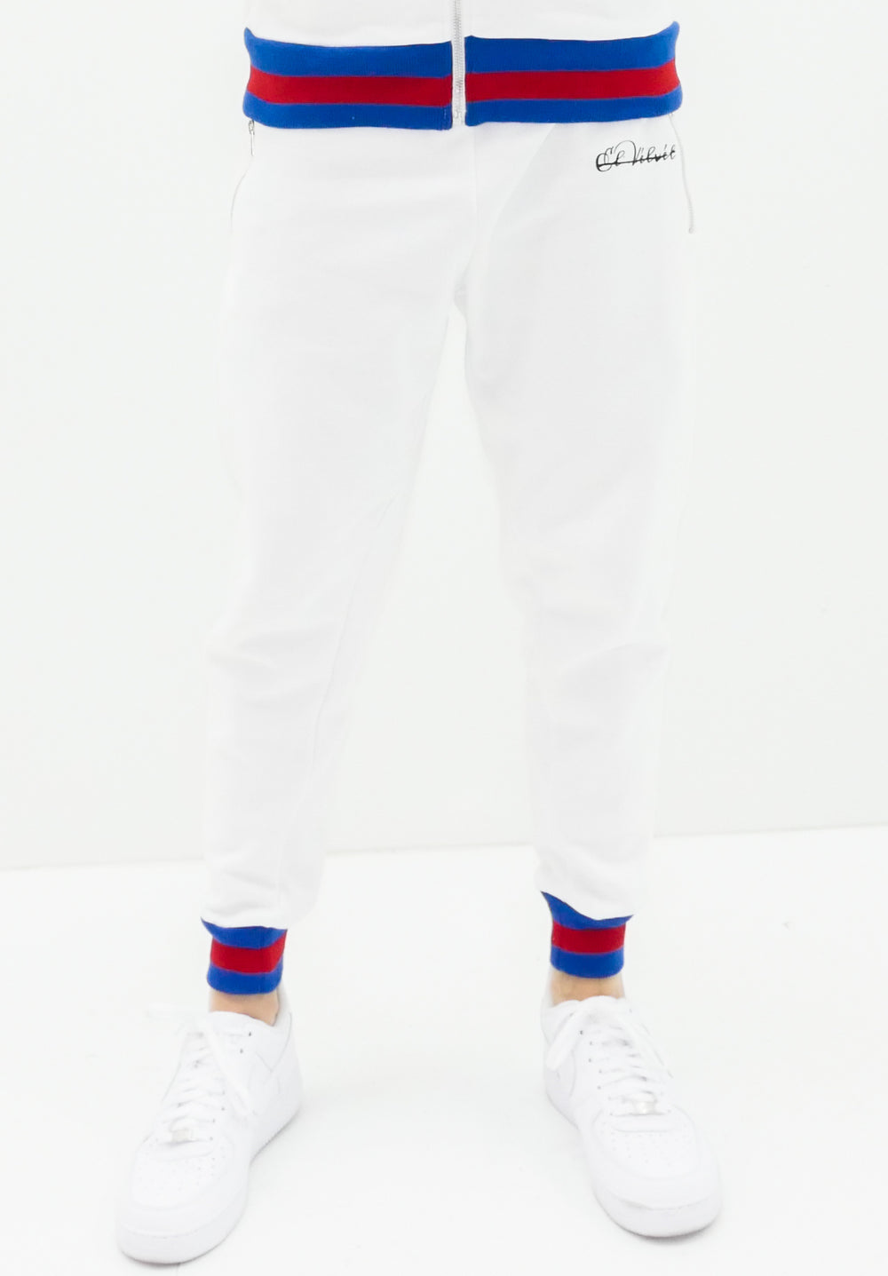 Ribbed White D-lux Sweat Joggers