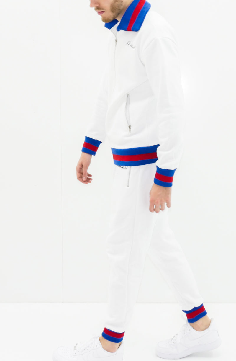 White D-lux Ribbed Full Tracksuit