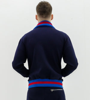 Collar'd Navy Blue D-lux Sweat Top