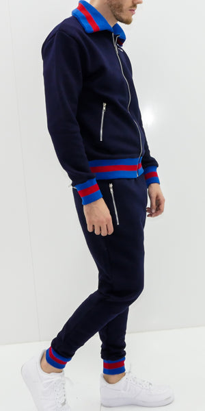 Navy Blue  D-lux Ribbed Full Tracksuit