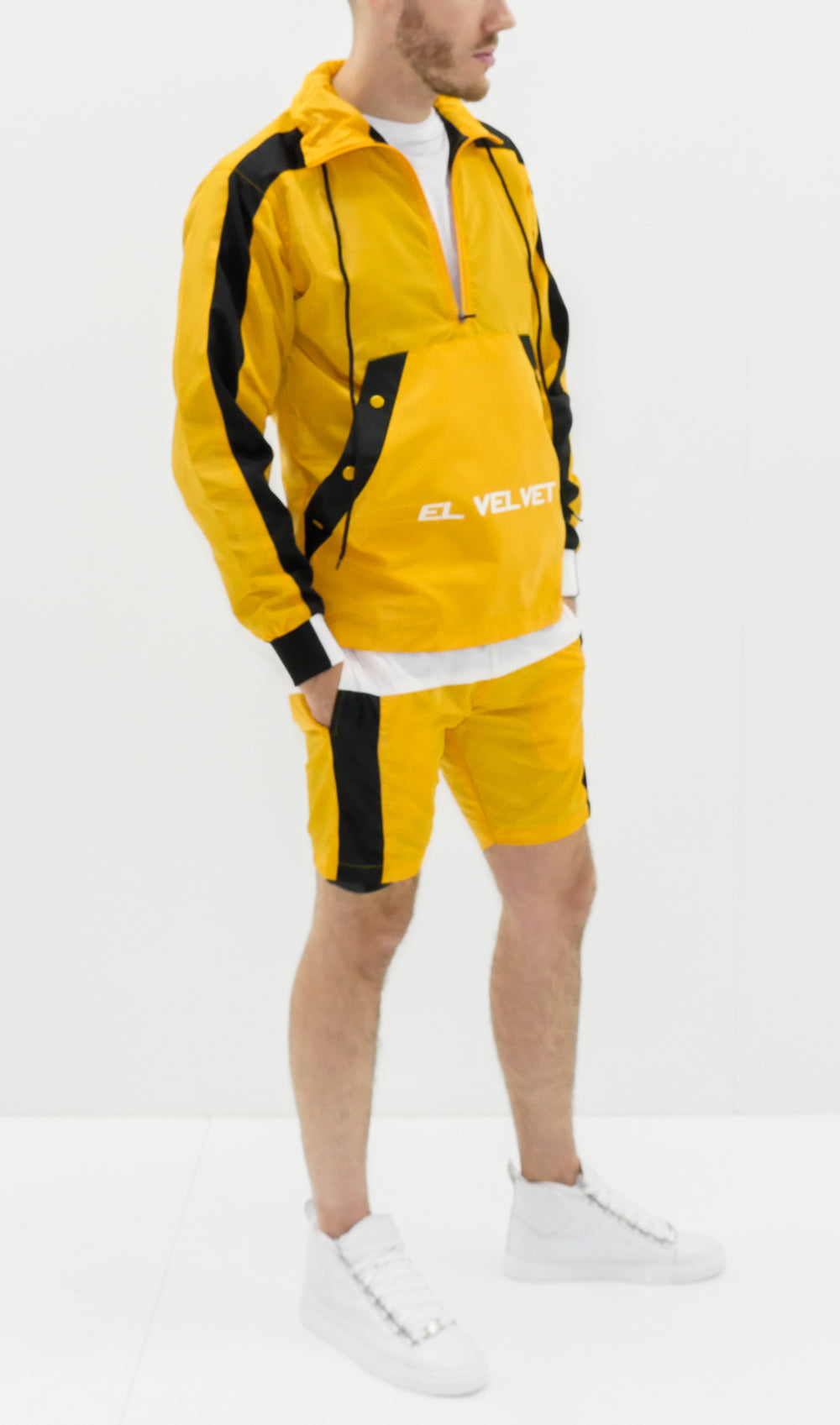 Yellow Black Panelled Balance Full suit