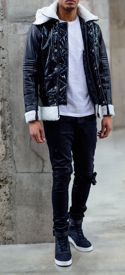 Black Patent Shearling
