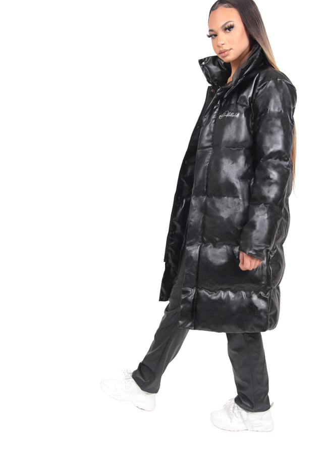 Women Black Leather Kings Long Puffer 1:1