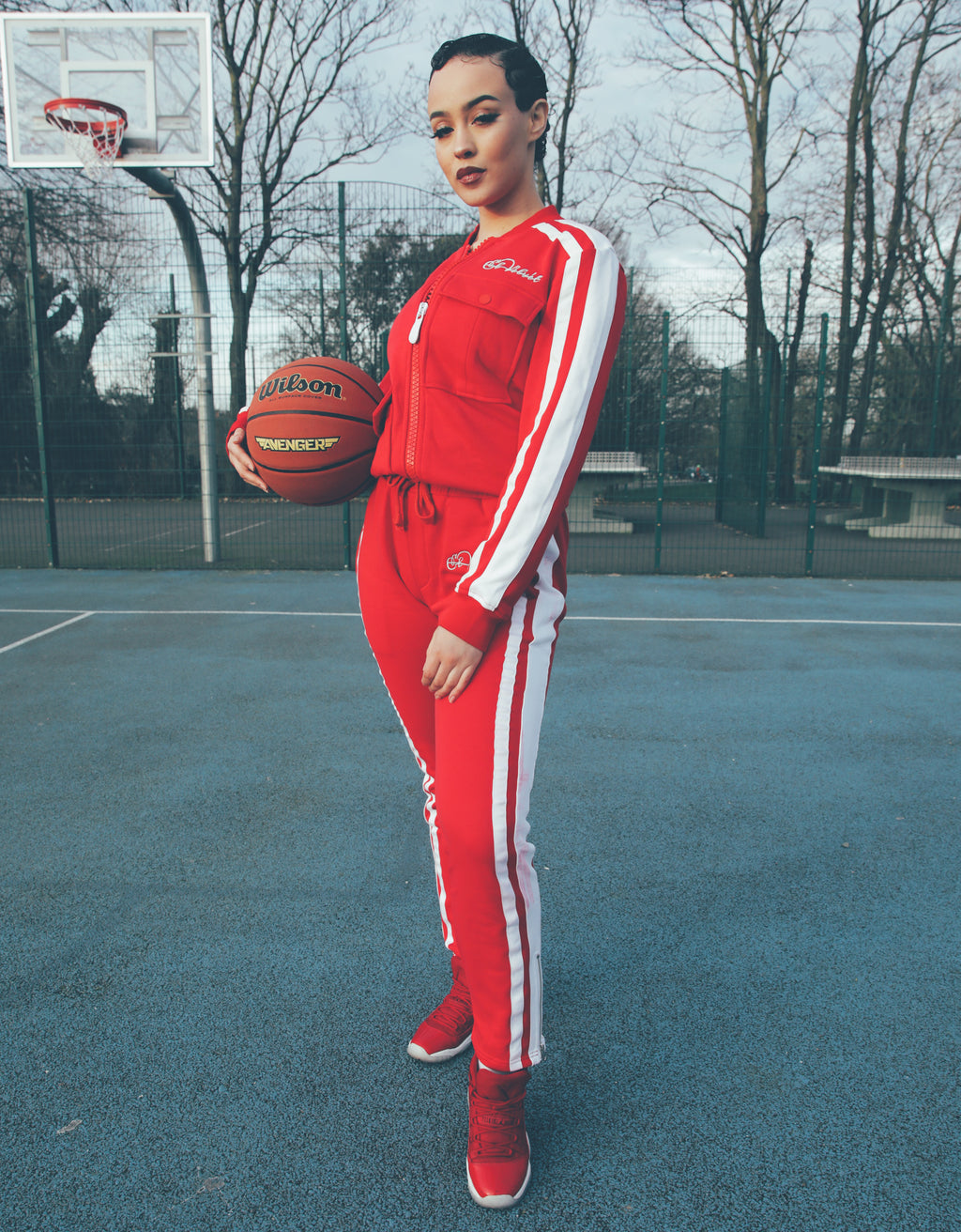 Women's Red Restro Striped Tracksuit