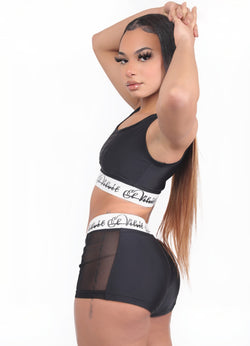 Black Ly Mesh Bralet Set / Shorts Set