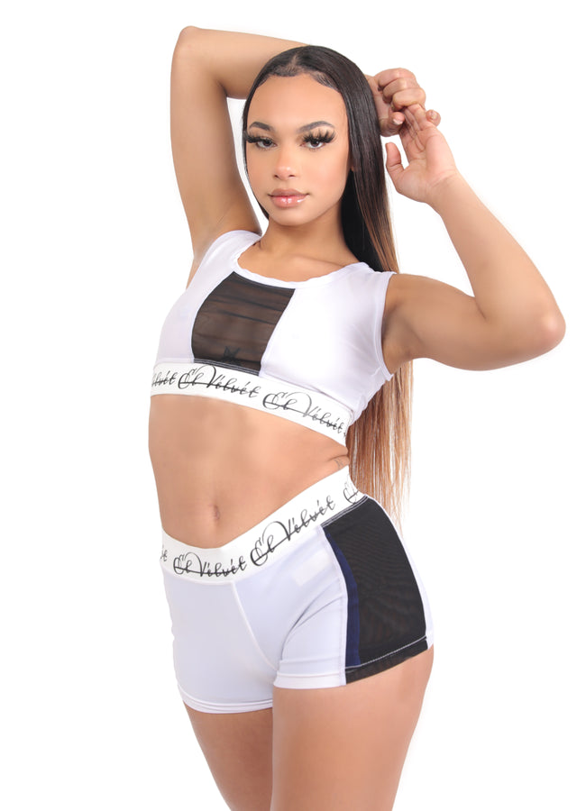White Ly Mesh Bralet Set / Shorts