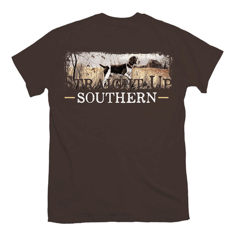 Straight up Southern - Youth Springer Spaniel Scene Tee - Dark Chocolate