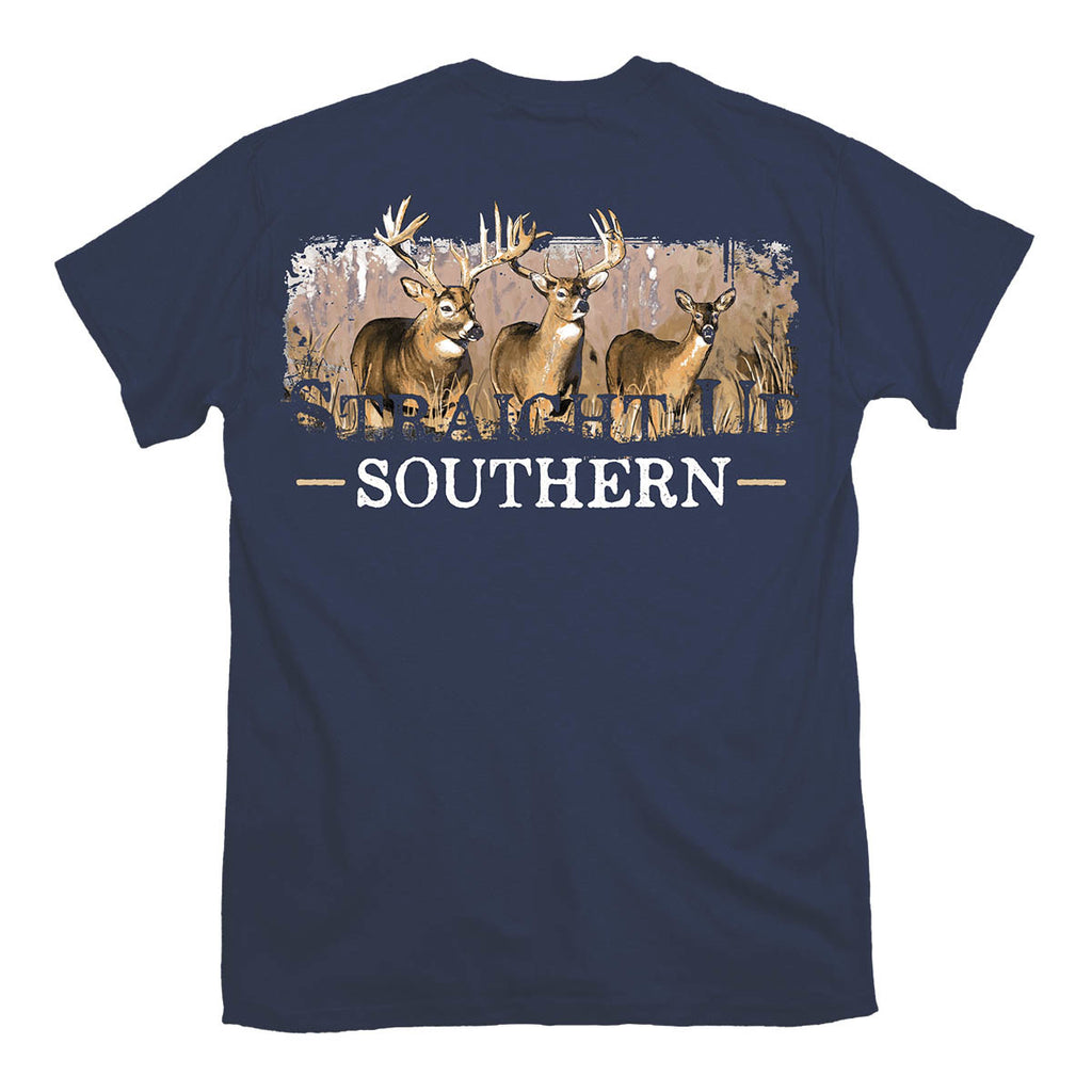 Straight up Southern - Youth Deer Scene Tee - Navy