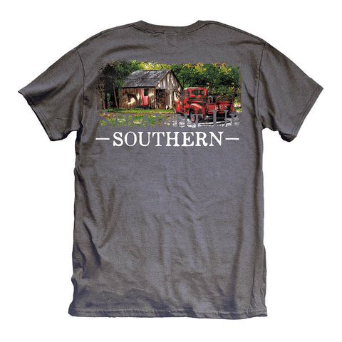 Straight up Southern - Youth Old Farm House Tee - Charcoal