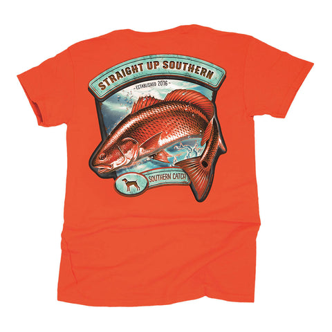 Straight up Southern - Youth Spottail Southern Catch Tee - Orange
