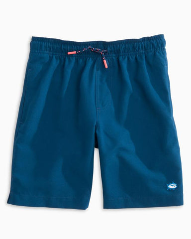 Southern Tide - Boys' Solid Swim Trunks - Yacht Blue
