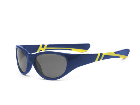 Real Kids Shades - Discover P2 Kid Unbreakable Polarized Lens Sunglasses - Navy/Yellow (Ages 4+ & Ages 7+)