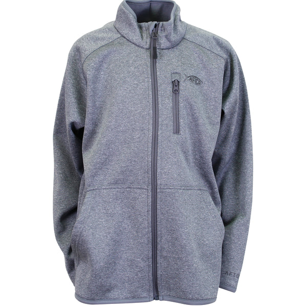 AFTCO - Youth Full Zip Performance Fleece Pullover - Gray Heather