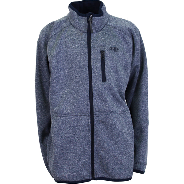 AFTCO - Youth Full Zip Performance Fleece Pullover - Midnight Heather