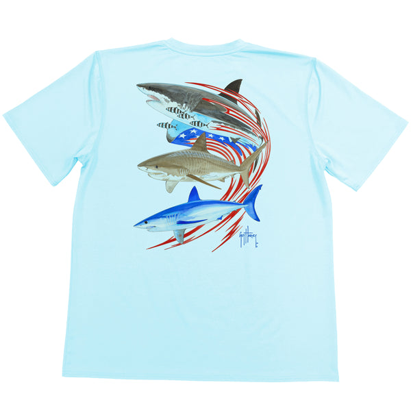 Guy Harvey - Youth Boys Performance Short Sleeve Go Fast Tee - Mist