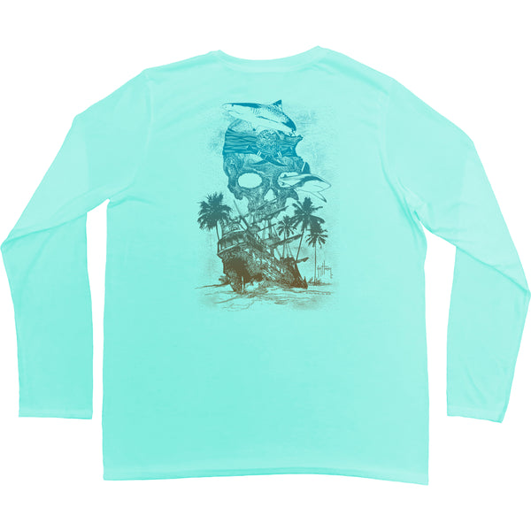 Guy Harvey - Youth Boys Performance Long Sleeve Chain Shot Tee - Mint