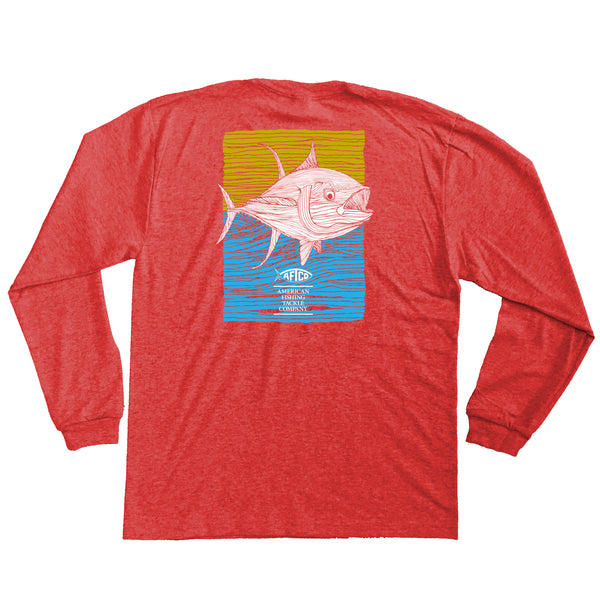 AFTCO - Youth LS Tuna Roll T-Shirt - Red Heather