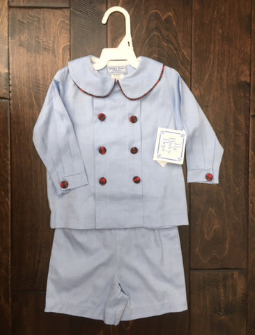The Bailey Boys - Chambray w/ Berry Plaid Dressy Short Set