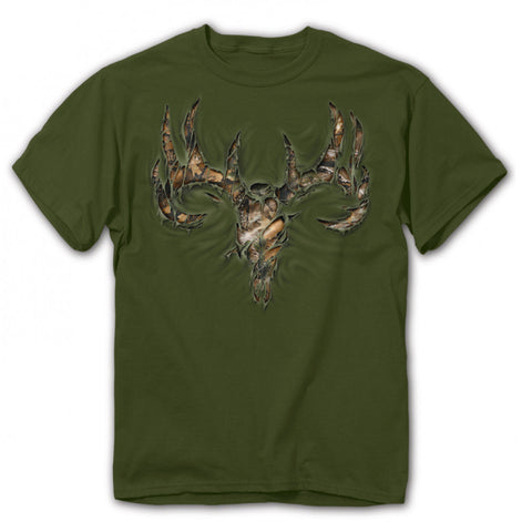 Buck Wear - Youth Camo RIP Skull Tee - Moss