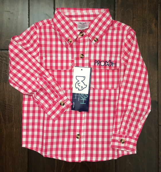 Prodoh gingham shirt cabaret pink youthful cotton for Prodoh fishing shirts