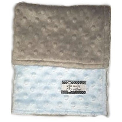 Camden's Collection - Lovie - Baby Blue on Gray Dimple Dot Minky