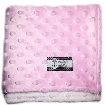 Camden's Collection - Lovie - Baby Pink on White Dimple Dot Minky