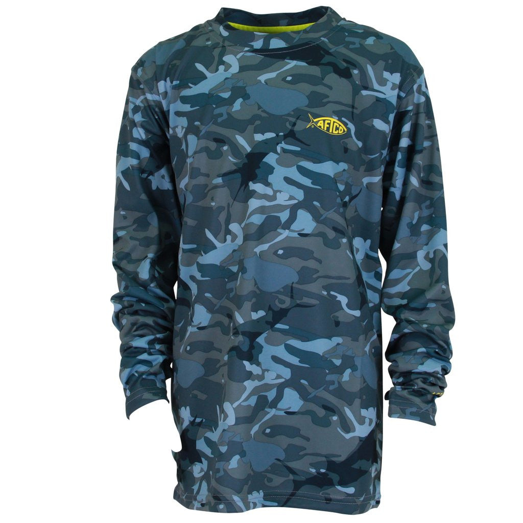 AFTCO - Youth Boys Caster Longsleeve Shirt - Blue Camo