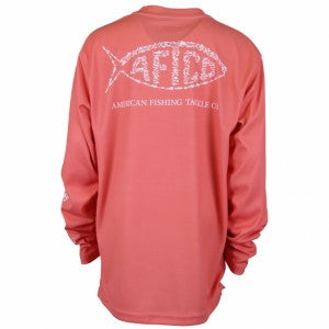 AFTCO - Youth Boys Cipher Longsleeve Shirt - Hot Coral