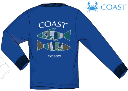 Coast Apparel - LS Block Fish - Royal Blue (Youthful Cotton Exclusive!)