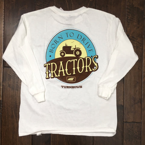 Turnrows - Youth Born to Drive Tractors LS Tee - White