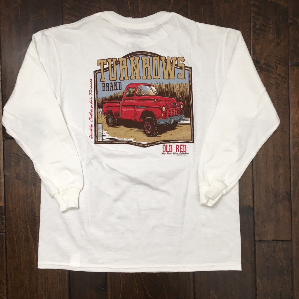 Turnrows - Youth Old Red LS Tee - White